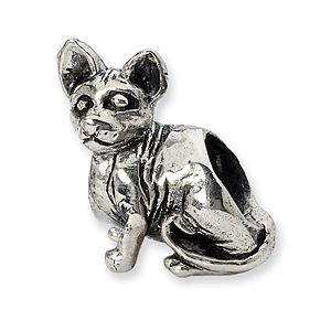 Sterling Silver Reflections Sphynx Cat Bead