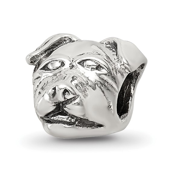 Sterling Silver Reflections Rottweiler Head Bead