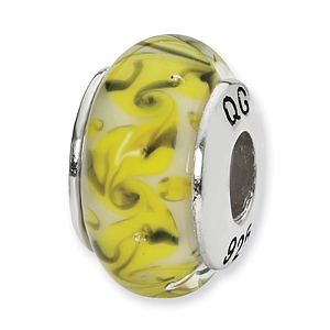 Sterling Silver Reflections Yellow Green White Swirl Glass Bead