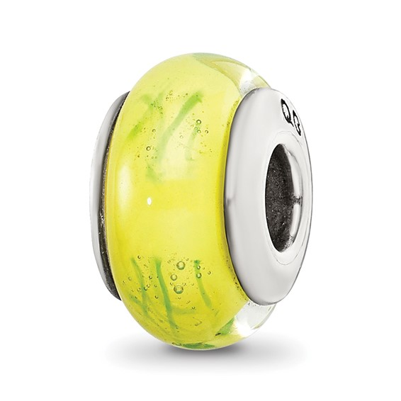 Sterling Silver Reflections Yellow Green Scribbles Hand-blown Glass Bead