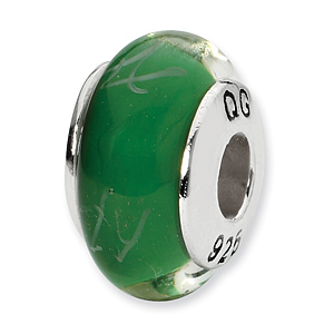 Sterling Silver Reflections Green White Scribbles Glass Bead