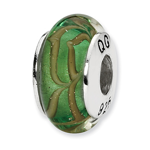 Sterling Silver Reflections Lt. Green Tan Swirl Hand-blown Glass Bead