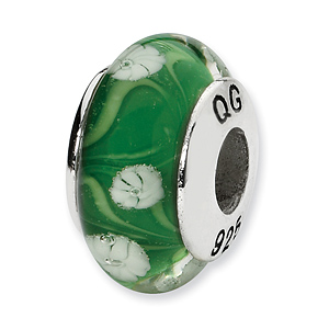 Sterling Silver Reflections Green White Floral Hand-blown Glass Bead