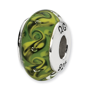 Sterling Silver Reflections Green Yellow Swirl Hand-blown Glass Bead
