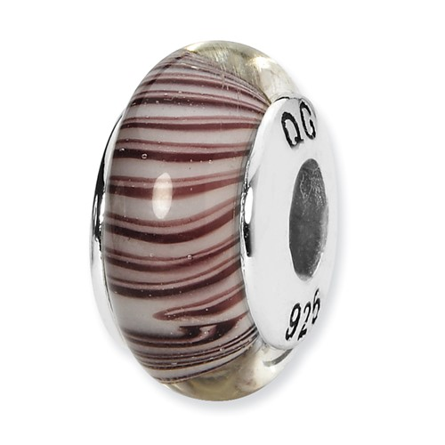 Sterling Silver Reflections White Mauve Hand-blown Glass Bead