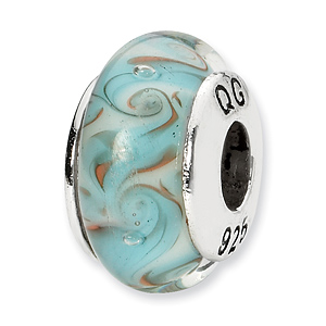 Sterling Silver Reflections White Blue Swirl Hand-blown Glass Bead