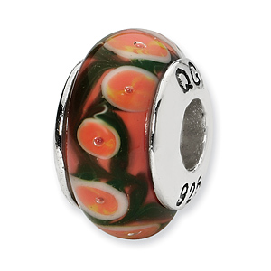 Sterling Silver Reflections Red Orange Hand-blown Glass Bead