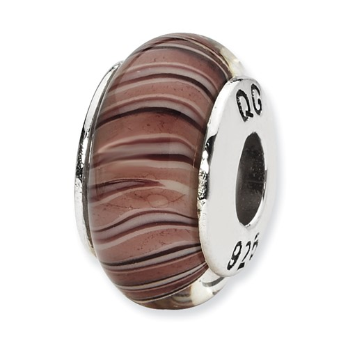 Sterling Silver Reflections Mauve Purple Hand-blown Glass Bead