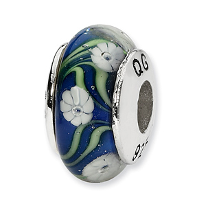 Sterling Silver Reflections Blue White Floral Hand-blown Glass Bead