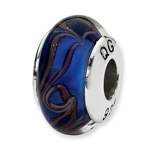 Sterling Silver Reflections Blue Brown Swirl Hand-blown Glass Bead