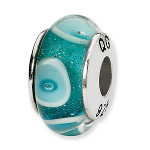 Sterling Silver Reflections Blue White Circles Hand-blown Glass Bead