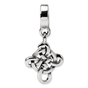 SS Reflections Celtic Weave Cross Dangle Bead