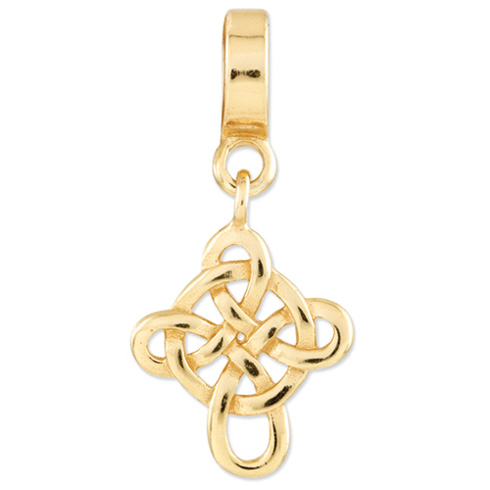 Sterling Silver Gold-plated Reflections Celtic Cross Dangle Bead
