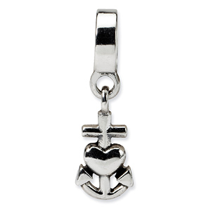 Sterling Silver Reflections Heart, Cross, Anchor Dangle Bead