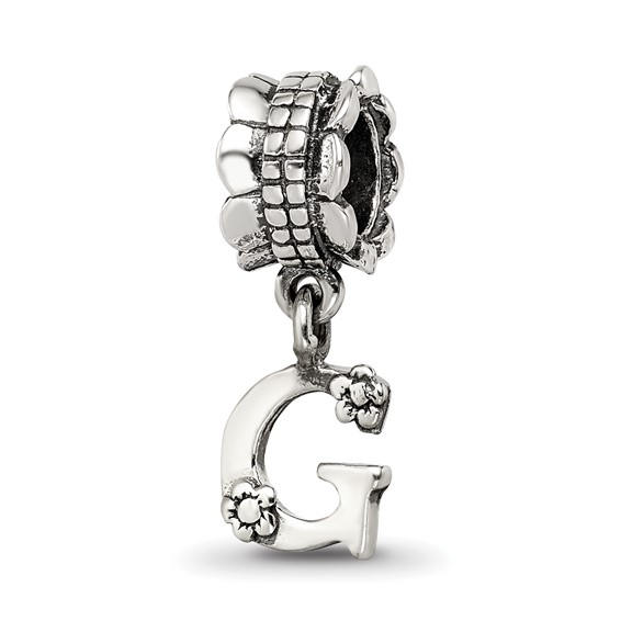 Sterling Silver Reflections Letter G Dangle Bead