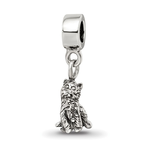 Sterling Silver Reflections Kids Cat Dangle Bead