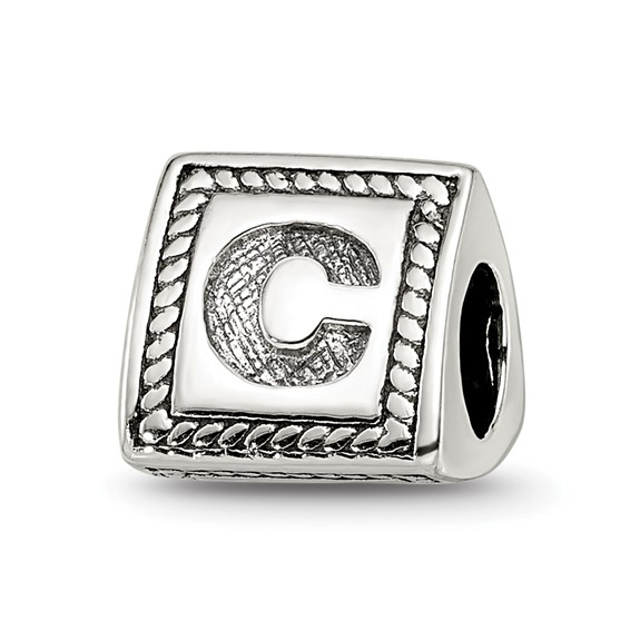 Sterling Silver Reflections Letter C Triangle Block Bead