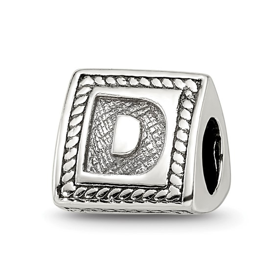 Sterling Silver Reflections Letter D Triangle Block Bead
