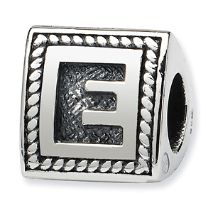 Sterling Silver Reflections Letter E Triangle Block Bead