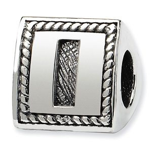 Sterling Silver Reflections Letter I Triangle Block Bead