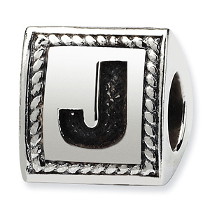 Sterling Silver Reflections Letter J Triangle Block Bead