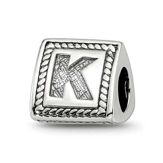 Sterling Silver Reflections Letter K Triangle Block Bead