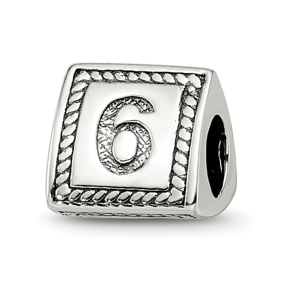 Sterling Silver Reflections Number 6 Triangle Block Bead