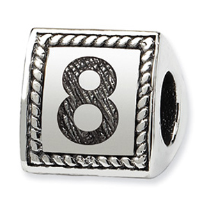 Sterling Silver Reflections Number 8 Triangle Block Bead