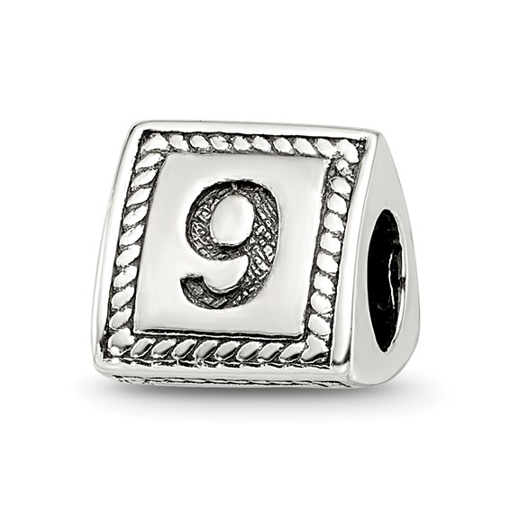 Sterling Silver Reflections Number 9 Triangle Block Bead