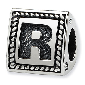 Sterling Silver Reflections Letter R Triangle Block Bead