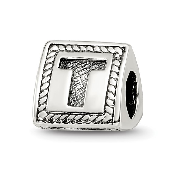 Sterling Silver Reflections Letter T Triangle Block Bead