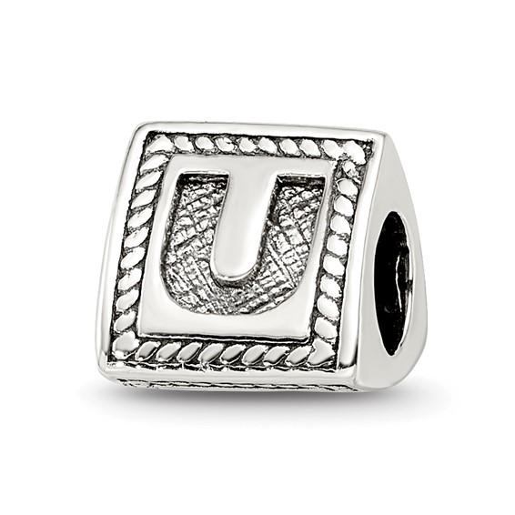 Sterling Silver Reflections Letter U Triangle Block Bead