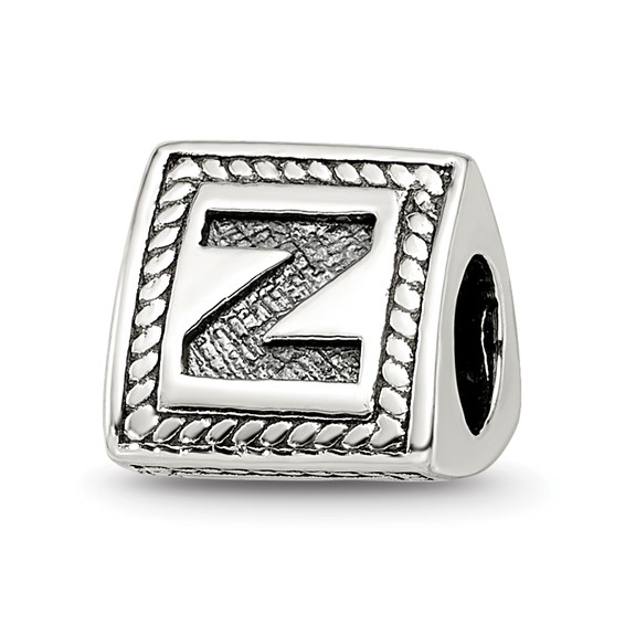 Sterling Silver Reflections Letter Z Triangle Block Bead