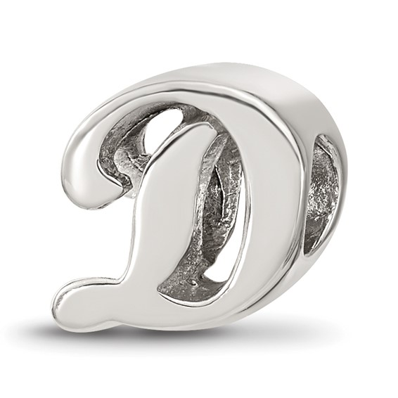 Sterling Silver Reflections Letter D Script Bead