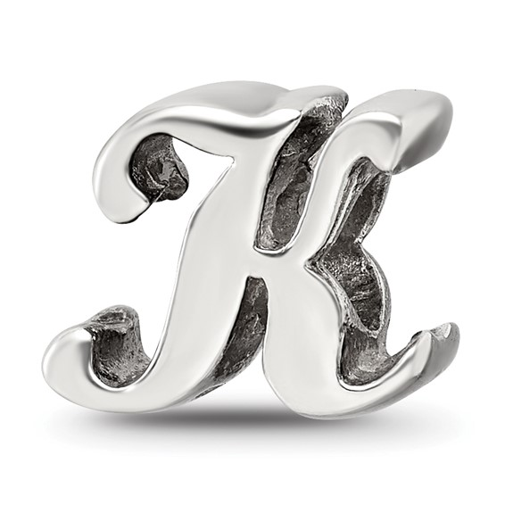 Sterling Silver Reflections Letter K Script Bead