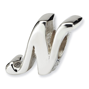 Sterling Silver Reflections Letter N Script Bead