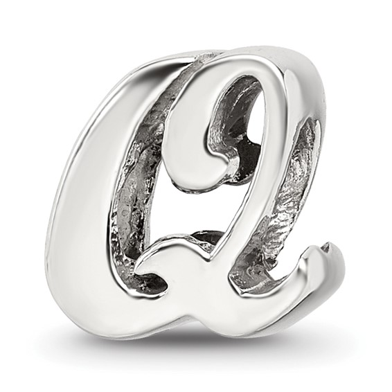 Sterling Silver Reflections Letter Q Script Bead