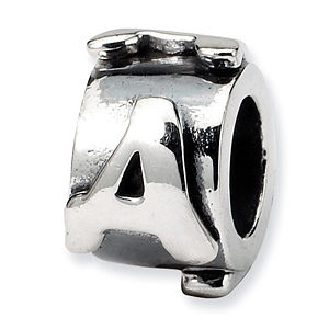 Sterling Silver Reflections Letter A Message Bead