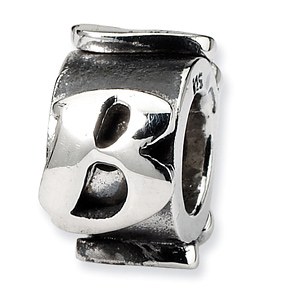 Sterling Silver Reflections Letter B Message Bead
