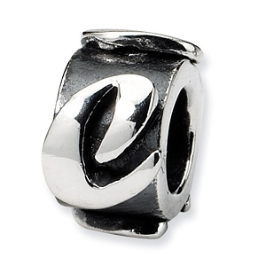 Sterling Silver Reflections Letter C Message Bead