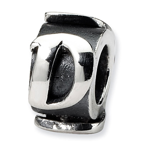 Sterling Silver Reflections Letter D Message Bead