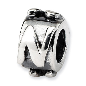 Sterling Silver Reflections Letter N Message Bead