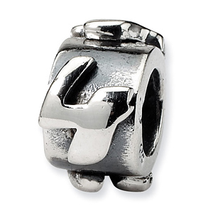 Sterling Silver Reflections Number 4 Message Bead