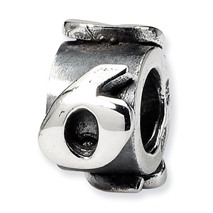 Sterling Silver Reflections Number 6 Message Bead