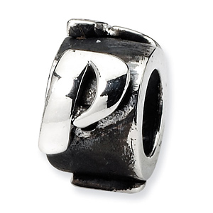 Sterling Silver Reflections Letter P Message Bead