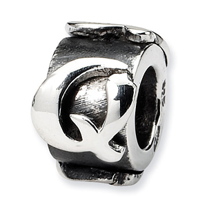 Sterling Silver Reflections Letter Q Message Bead