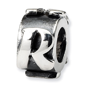 Sterling Silver Reflections Letter R Message Bead
