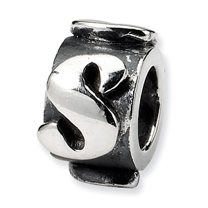 Sterling Silver Reflections Letter S Message Bead