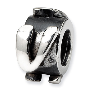 Sterling Silver Reflections Letter V Message Bead