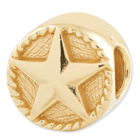 Sterling Silver Gold-plated Reflections Star Bead